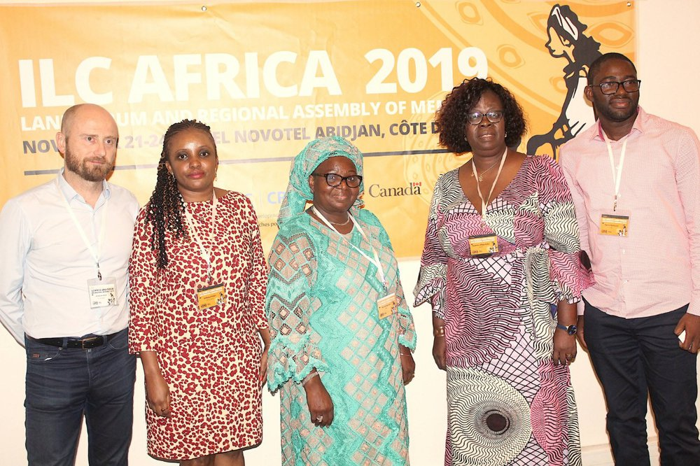 Newly elected Fridah Githuku (2nd from left), outgoing steering committee member Kafui Kuwonu (2nd from right) and other members at the Regional Assembly 2019, in Abidjan, Cote d'Ivoire